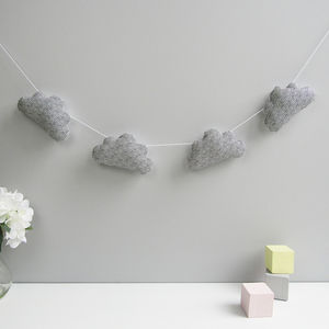 Patterned Fabric Cloud Nursery Garland