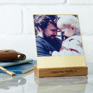 Personalised Brass And Wood Desk Photo Block - picture frames