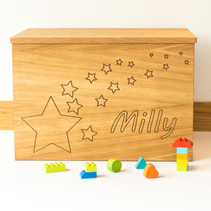 Personalised Stars Wooden Toy Box - storage & organisers