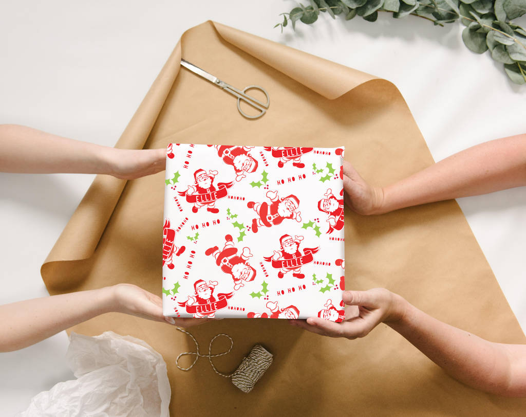 personalised santa christmas wrapping paper by abigail warner | notonthehighstreet.com