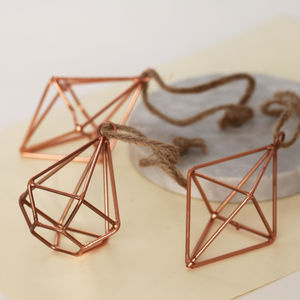 Trio Of Geometric Wire Decorations - tree decorations
