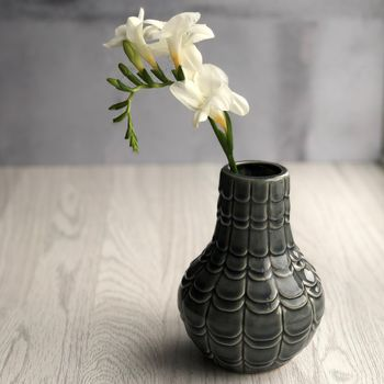 Grey Scalloped Vase