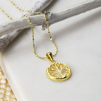 Gold Plated Sterling Silver Tree Necklace