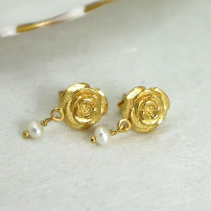 Gold Rose Stud Earrings With Freshwater Pearls