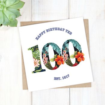 Personalised Hawaiian Mens 100th Birthday Card