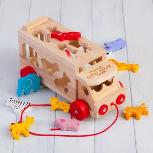 Safari Animal Personalised Shape Sorter Lorry - gifts for babies