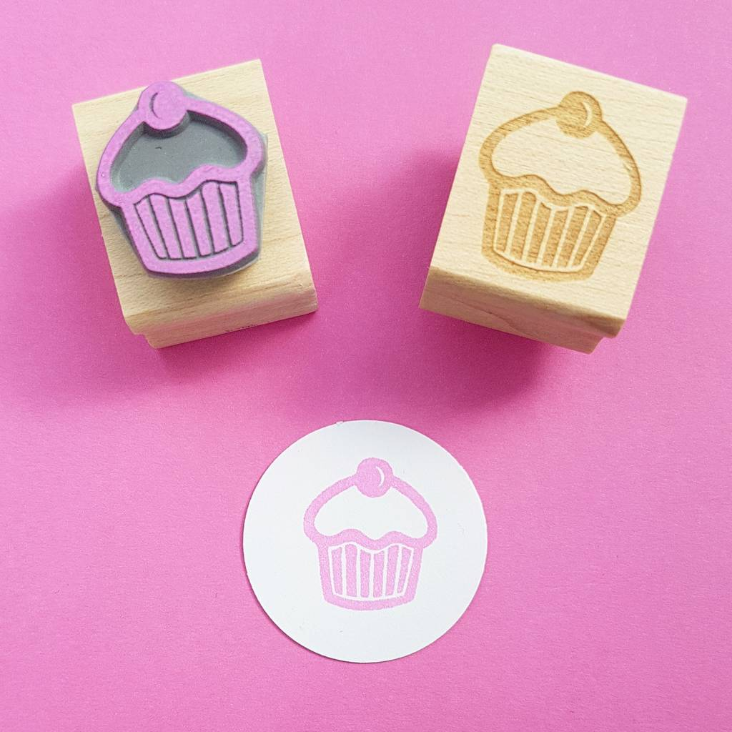 Mini cupcake rubber stamp by skull and cross buns