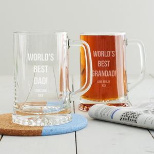 Personalised 'Best Dad' Beer Tankard - glassware