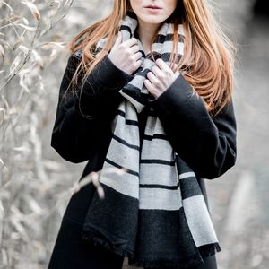 Black And Silver Gradual Stripe Scarf