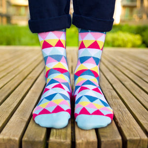Colourful Pink, Blue, White And Yellow Patterned Socks - men's fashion