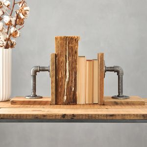 Pair Of Industrial Wood And Steel Bookends - book lover