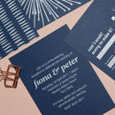 Contemporary White Ink Wedding Invitations