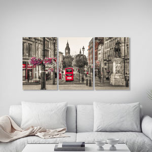 Red London Bus Triptych Canvas Wall Art - architecture & buildings