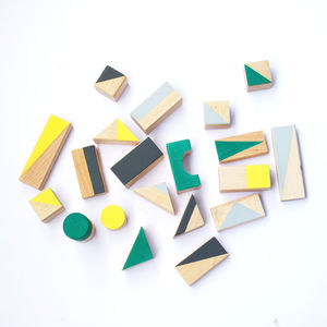 Wooden Blocks In Autumn Tones - baby toys