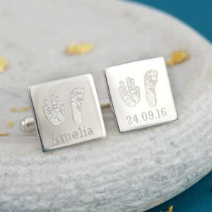 Square Handprint And Footprint Cufflinks - men's jewellery