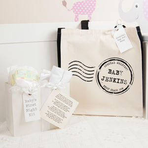Personalised Stamp Hospital Bag And First Night Kit