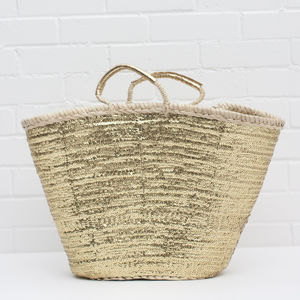 Hand Woven Palm Leaf Moroccan Sequin Basket - whatsnew