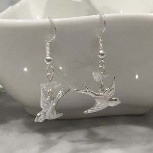 Silver Plated Swallow Earrings - earrings