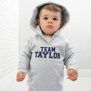 'Team Surname' Personalised Baby Hoodie - babies' jumpers