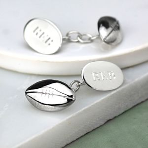 Rugby Ball Cufflinks Solid Silver - personalised jewellery