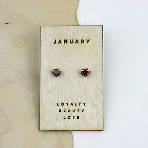 Birthstone Characteristics Heart Stud Earrings - earrings