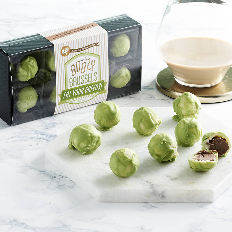 Boozy Chocolate Brussels Sprouts With Baileys