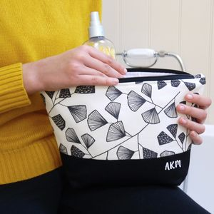 Personalised Monochrome Fern Wash Bag - make-up bags