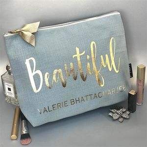 Duck Egg Linen Effect And Gold Text Luxury Wash Bag