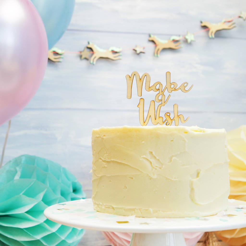 Unicorn Party Make A Wish Cake Topper