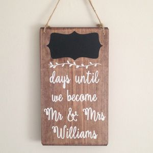Personalised Wedding Countdown Chalkboard Handmade Sign - room signs