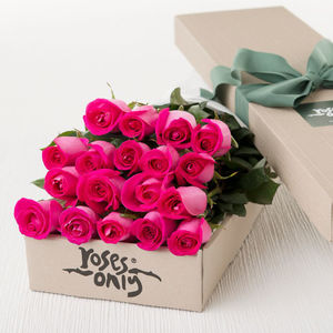 Bright Pink Rose Gift Bouquet - alternative flowers & chocolates