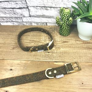 Sand Harris Tweed Dog Collar - new in pets