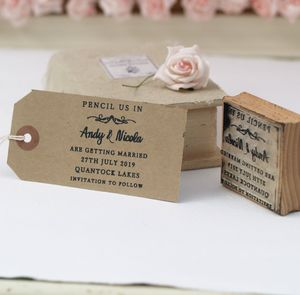 Pencil Us In Personalised Rubber Stamp - save the date cards