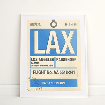 Personalised Los Angeles Vintage Luggage Tag Print