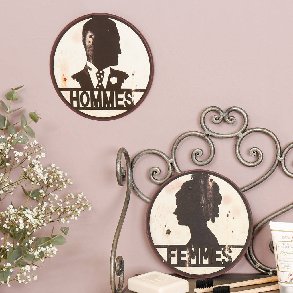 his and hers french silhouette bathroom wall plaques by dibor rh notonthehighstreet com Bathroom Signs Plaques Wall Plates for Bathroom
