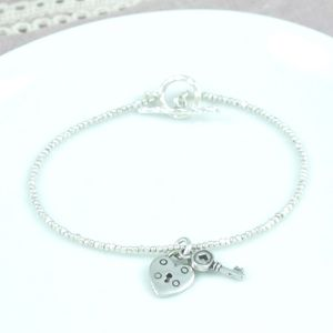 Sweet Petite Heart Padlock Key Silver Stacking Bracelet