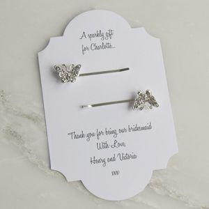 Personalised Crystal Butterfly Hair Clips - wedding fashion