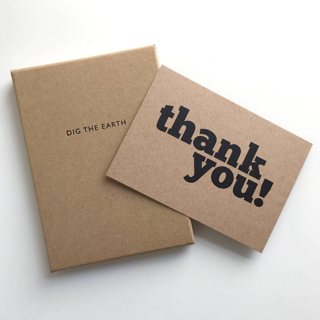 set of 12 thank you postcard note cardsdig the earth