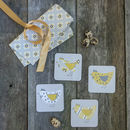 Roost Yellow Hen Set Of Four Melamine Coasters