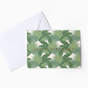 Tropical Leaf Pattern 'Happy Birthday' Card - new in