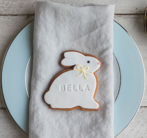 Six Personalised Easter Bunny Biscuits