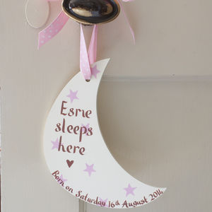 Personalised New Baby Girl's Moon Door Sign - winter sale