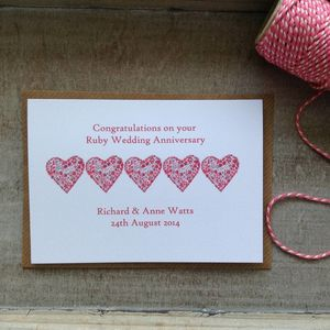 Personalised Love Heart Anniversary Card