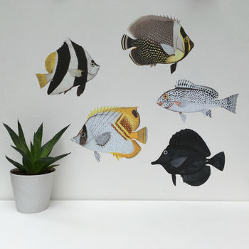 Black And White Tropical Fish Wall Sticker Set