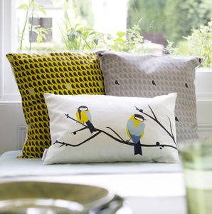 Great Blue Tit Bird Cushion - bedroom