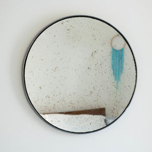Circular Brushed Steel Mirror - mirrors