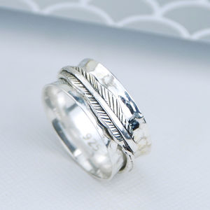 Sterling Silver Feather Spinning Ring - rings