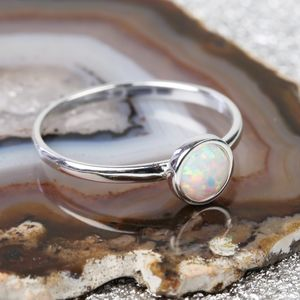 Sterling Silver And Round Opal Ring - rings