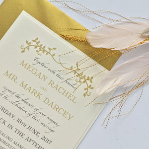 Black And Gold Garland Wedding Invitation - invitations