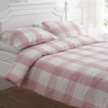 Raspberry Check Brushed Cotton Duvet Cover Set
